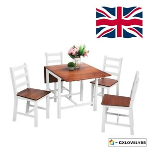 Folding Drop Leaf Dining Set With Table And 4 Chairs Compact Kitchen White