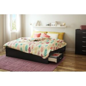 King size platform bed frame with 6 drawers