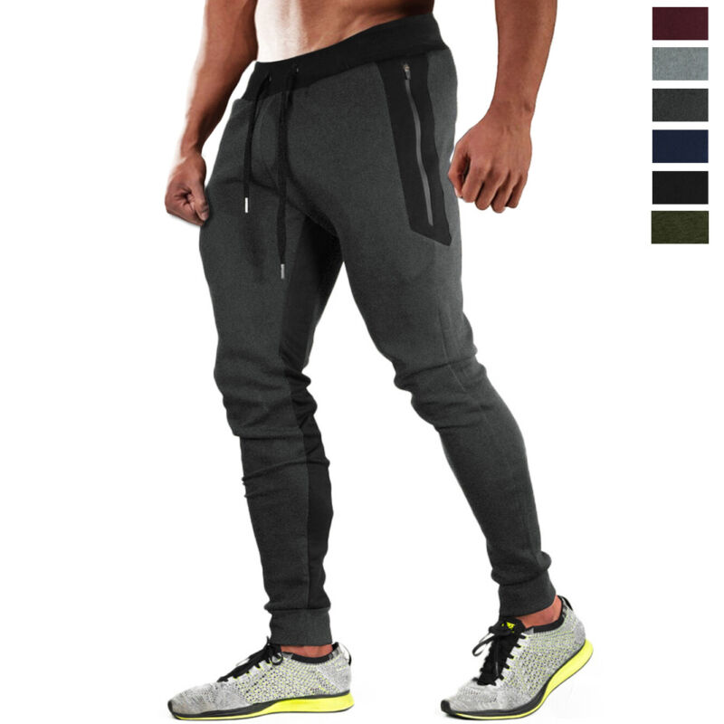 Mens Jogger Tapered-leg Training Pants Running Sport Sweatpants Workout Trousers