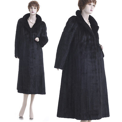LKNW! Forever Fashionable Glamorous Black Beauty Real Mink Fur F/L Coat