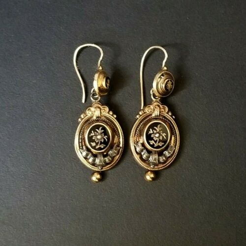 Antique Victorian Mourning Memento Mori Earrings - Gold and Enamel with Seed Pea