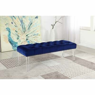 Best Master Furniture Velvet Accent Bench with Acrylic Bench