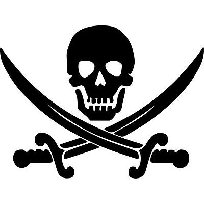 Jolly Roger Skull Vinyl Sticker Decal Pirate Boat Flag  - Choose Size & Color (Pirate Stickers)