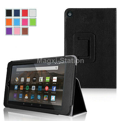 Folio PU Leather Cover Stand Case For Amazon 2015 2017 Kindle Fire 7 5th 7th Gen