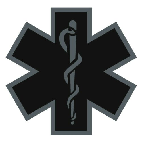 Black Subdued Reflective Star Of Life Fire Helmet Decal EMS EMT 2 inch