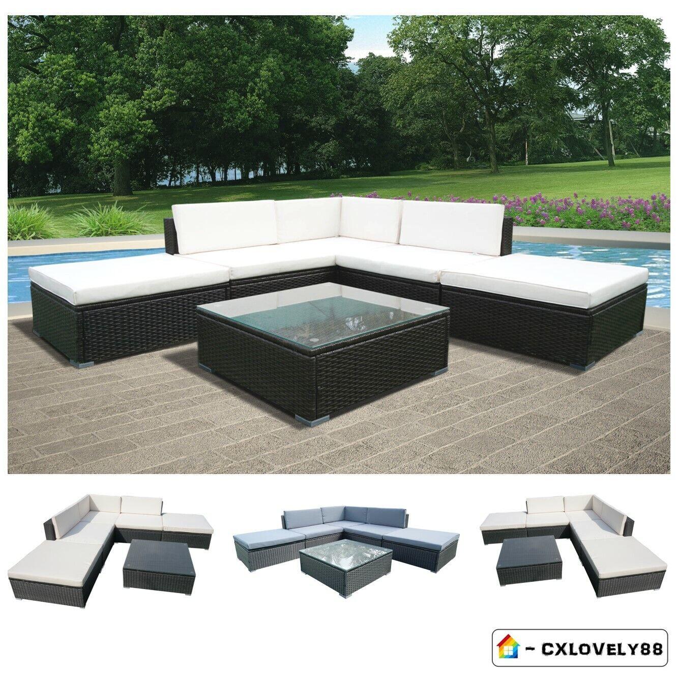 Garden Furniture - Garden Rattan Furniture Corner Sofa Table Set Outdoor Patio Rattan Set 6 Piece