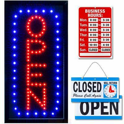 Business Led Neon Open Sign Vertical Lighted Flashing Mode Electric Light Up