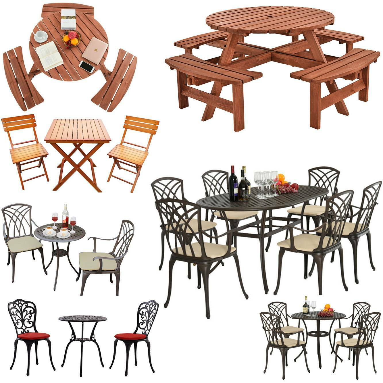 Garden Furniture - Garden Furniture Set Patio Wood Cast Aluminium Table and Chairs Bistro Outdoor