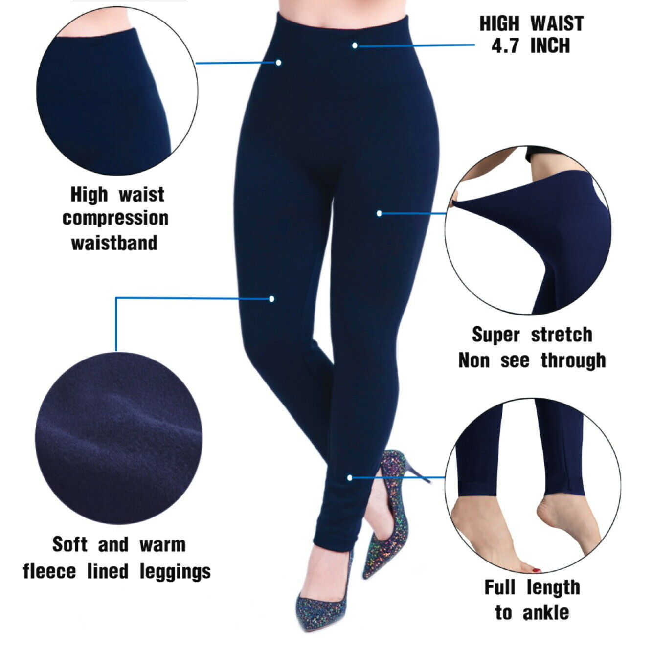 Damen High Waist Shapewear Thermo Leggings, Bauchweg Miederhose Sport Yoga Hose