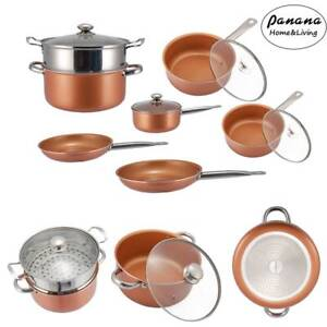 11Piece Copper Luxury Induction Non-stick Cookware Set Skillet Steamer Sauce Pan