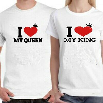 I Love My king I Love My Queen T Shirt valentine anniversary day Couple Matching