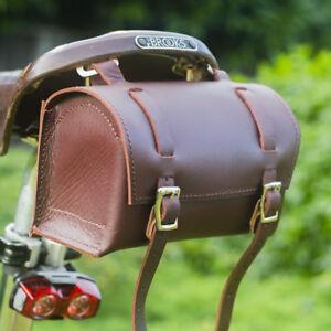 Real Leather Saddle Bag Tool Box Craft Vintage Retro in WINE BROWN Bike Bicycle