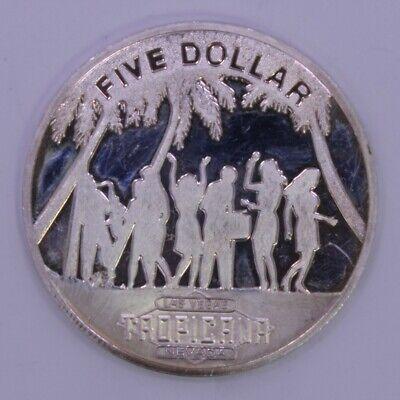 RARE 1991 Tropicana Resort Casino Five Dollar $5 Token Chip 999 Fine Silver Coin