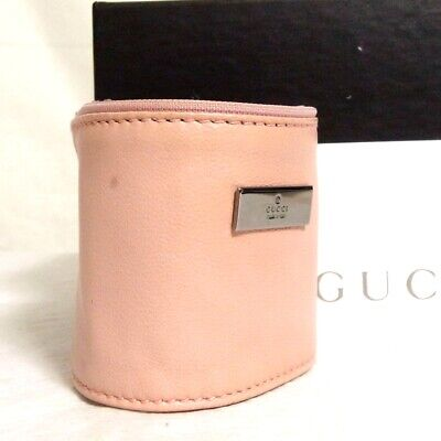 "Auth Vintage GUCCI Pink Leather Bangle Bracelet 16.5cm/6.5"" Made Italy in Box"