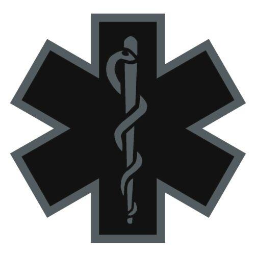 Black Subdued Reflective Star Of Life Fire Helmet Decal EMS EMT 3 inch