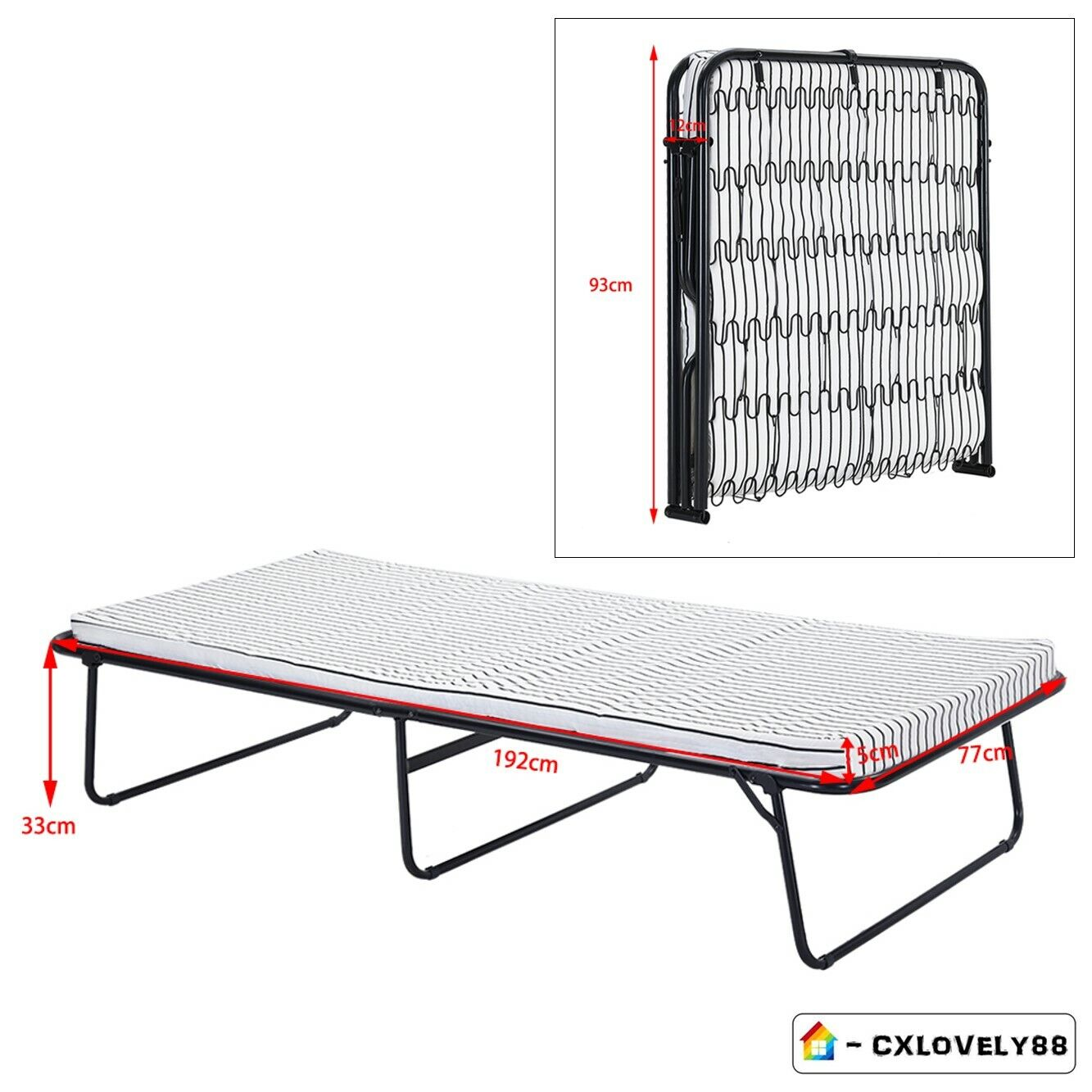 Metal Frame Compact Folding Bed