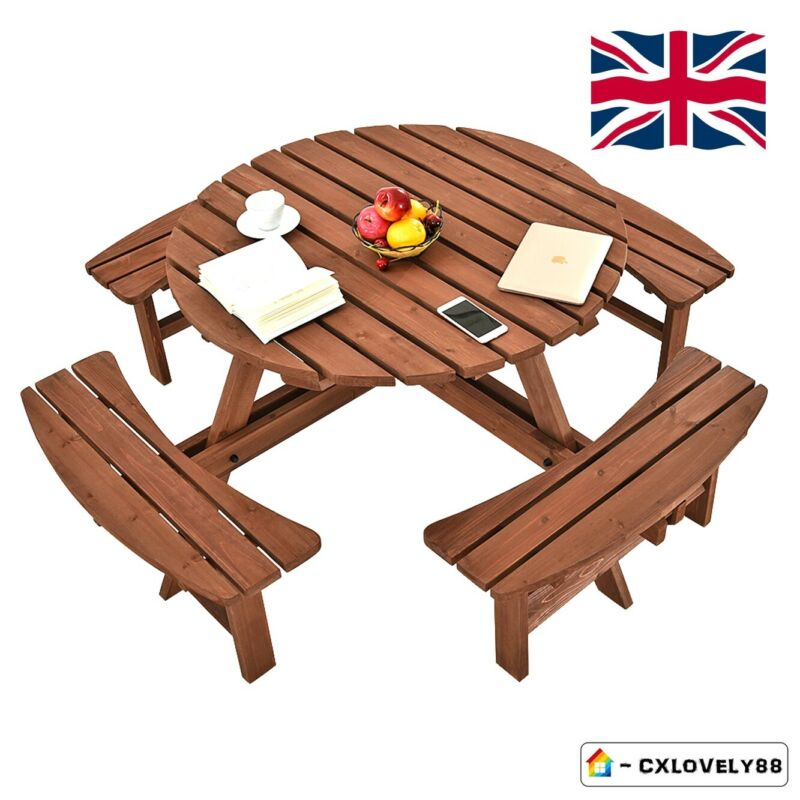 Garden Furniture - Garden 8 Seater Wooden Pub Bench Round Picnic Table Furniture With Parasol Hole