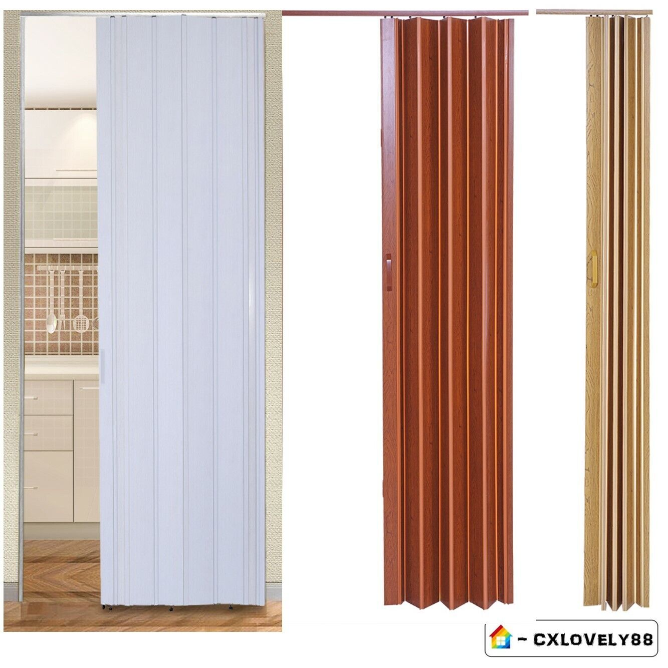PVC Plastic Folding Concertina Door Gloss Sliding Door Panel ... on