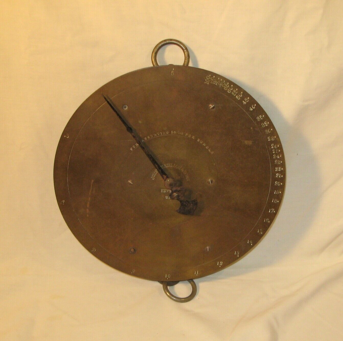 Antique John Chatillon  Sons 100lb Brass Face Hanging Market Scale