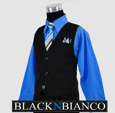 Boys Suits Pinstripe Vest in Black with Blue Shirt and Tie Outfit Set Size 2T-14 ()