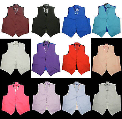 Vest With Bowtie (Mens Dress Vest with Bow tie, NeckTie and Hanky Full 4pcs Set)
