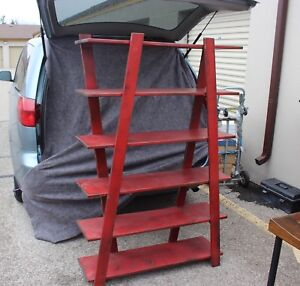 Solid Pine Distressed Red Over Black Bookcase