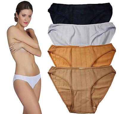 6 Pack Womens Cotton Panties Bikini Ribbed Line Underwear Soft Low Rise 4 Colors Cotton Ribbed Bikini