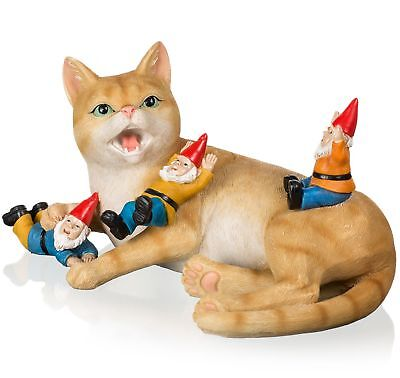 Joykick Cat with Gnomes Statue - 10 x 6.7 Inches Funny Garden...