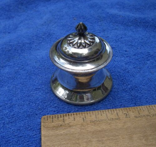 Fine Old INDIAN ASIAN Silver Small COSMETIC / COLOR POWDER BOX-Hut Shaped-Marked