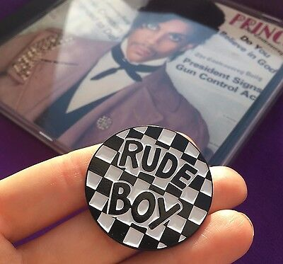 Rude Boy Controversy Nickel & Enamel Pin Badge Button - Prince Fan Tribute (Ska)