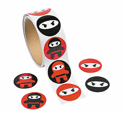 100 pc Ninja Warrior roll STICKERS Martial Arts Boys Girls PARTY  - Girl Ninja Warrior