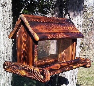 Rustic Beautiful large handmade hanging cedar wood square bird feeder, TBNUP #1B