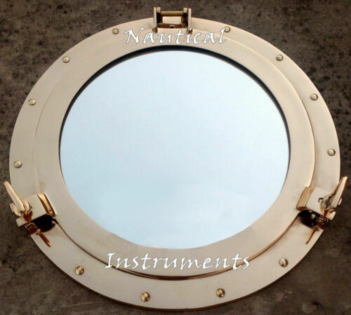 "17"" Large Brass  Porthole Window Wall Mirror Nautical Maritime Boat Ship Decor"