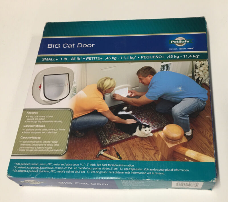 PetSafe Big Cat/Small Dog Pet Door up to 25 lbs For Doors and Windows Open Box