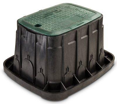 "Rain Bird VBREC12 Rectangular Sprinkler Valve Box, Black with Green Lid, 12"""