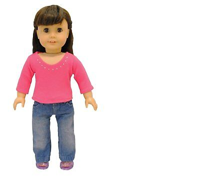Doll Clothes - 2 Piece Doll Clothing Set Fashion Jeans and L
