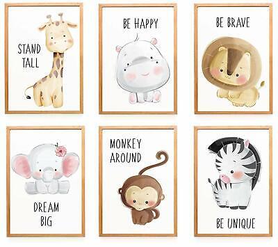 Poster 6er Set Bilder Tiere Kinderzimmer Babyzimmer Deko | Bild Junge Mädchen