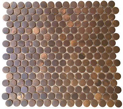 (Backsplash Kitchen Bath Fireplace - Penny Round Antique Copper Mosaic Tile)