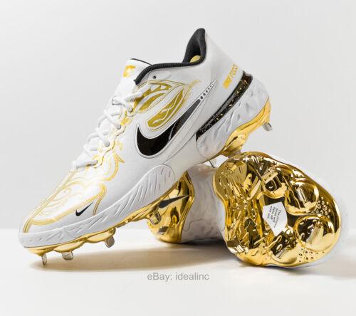 Nike Alpha Huarache Elite 3 Low Premium Gold Metal Baseball Cleat React Men