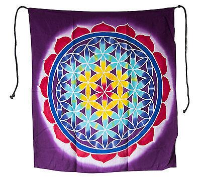 Batik Chakra Sri Yantra Hanging Wall Mandala Yoga Decoration Lilac 52x46cm 25251