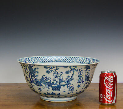 """Rare Massive Important Chinese Blue and White 100 Boy Playing Porcelain Bowl 13"""""""