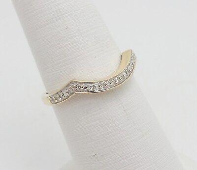Zale 1/10CT Diamond Vintage Style Contour Wedding Band Wrap Ring 10K Yellow Gold
