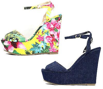 Liliana Anneka-24 Open Toe Platform Floral Denim Wedge Women's Shoes Sandals Denim Open Toe Sandals