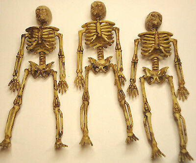 Lot of 3 Miniature Dollhouse Plastic Skeletons 6