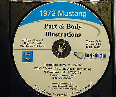 1972 Ford Mustang Illustrated Exploded View Parts And Illustrations Manual Cd