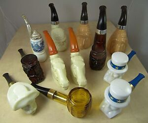 LOT 12 VINTAGE AVON BOTTLES PIPES DOGS HORSES DUTCH FACES CORN COB PONY EXPRESS