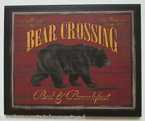 Bear Crossing Picture Rustic Lodge Style Wall Decor country log cabin sign new