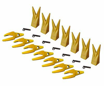 7 Cat J200 Style Backhoe Bucket Shanks 1 Lip Rock Teeth 1u-3202wtl 119-3204