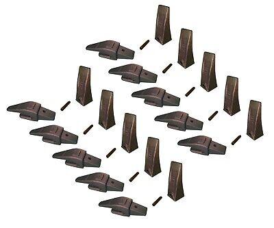 10 Mini Ex Backhoe Skid Bucket Weld On Shanks Teeth Pins 34 Lip- 552x156