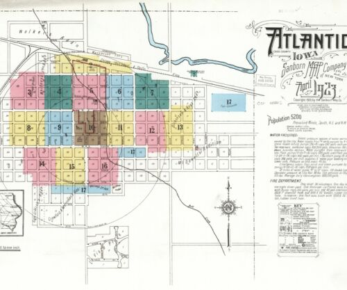 Atlantic, Iowa~Sanborn Map© sheets~with 59 maps in full color on a CD~PDF format